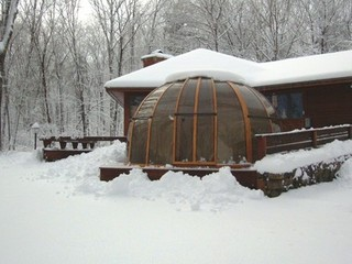 Snow on hot tub enclosure