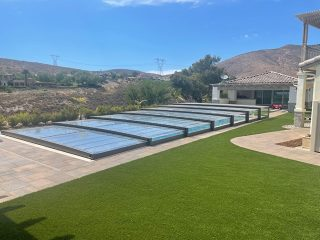 Swimming pool enclosed by Terra - the lowest model on the market