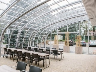 View from the inside of the patio enclosure for HoReCa