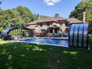 Wide variant of Laguna pool enclosure - fully opened enclosure
